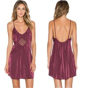 Amuse Society Lake Burgundy Slip Dress Cutout S
